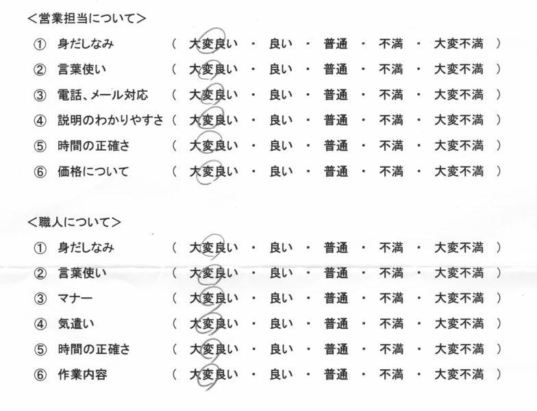 箱根町 I様の声の評価
