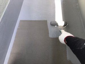 ベランダ床面上塗り